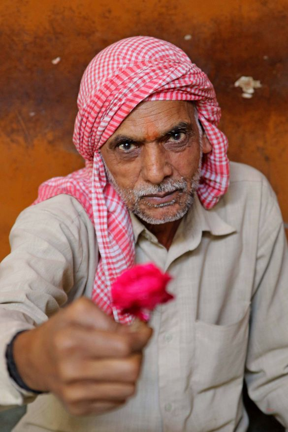 A flower vendor in Old Delhi's flower market offering a rose