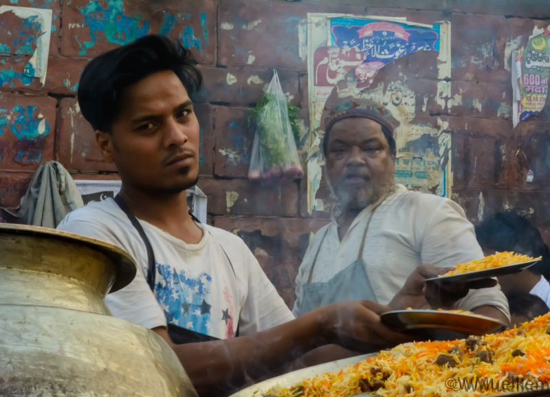 A roadside vendor selling biryani